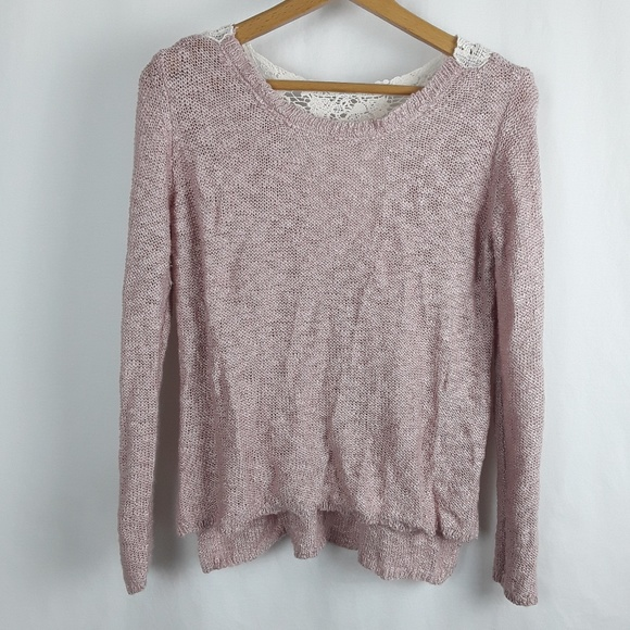 Pink Republic Tops - Boho Chic Pink Moonstone Sweater with Crochet back
